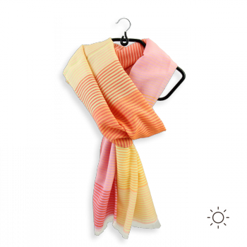 COTTON SILK STOLE YELLOW PINK HIPPOCAMPE