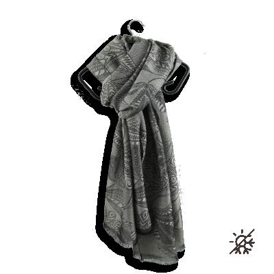 ECHARPE CACHEMIRE COTON SOIE LYRIC GRIS