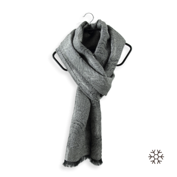GREY MERINO WOOL COTTON BAGAN STOLE