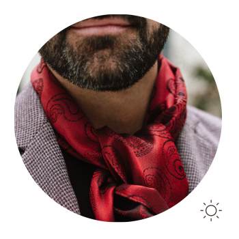 MAN SCARF SILK CHARLES RED