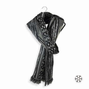 MERINO WOOL COTTON SILK SCARF SAUVAGE BLACK BEIGE