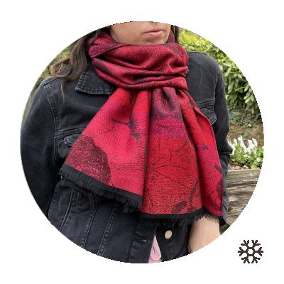 MERINO WOOL MODAL COTTON SILK STOLE VIENNE RED
