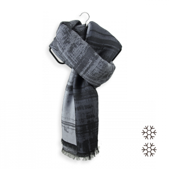 MERINO WOOL MODAL OVER SIZE STOLE TOLE FROISSEE GREY