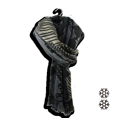 MERINO WOOL MODAL STOLE BLACK BEIGE NEBULEUSE
