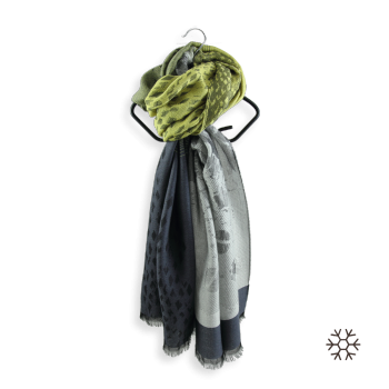MERINO WOOL MODAL STOLE GREY YELLOW DELICE
