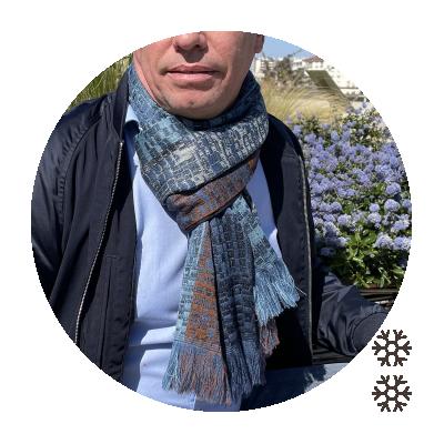 MERINO WOOL MODAL STOLE JANEIRO SKY BLUE