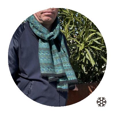 MODAL MERINO WOOL COTTON GREEN STOLE CROMAGNON