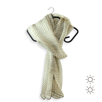 PRINTED SILK STOLE DOTS NATURAL BEIGE