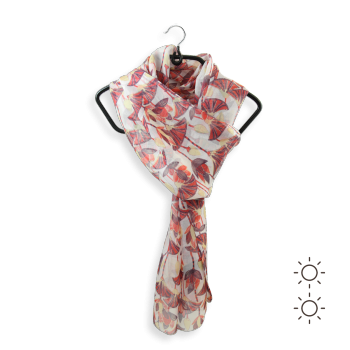 PRINTED SILK STOLE LOTUS FLOWERS CORAL