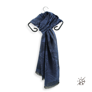 SCARF CASHMERE COTTON SILK LYRIC NAVY