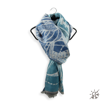 SCARF COTTON SILK ARTHEMIS TURQUOISE BLUE