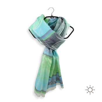 SCARF COTTON SILK CORAIL TURQUOISE