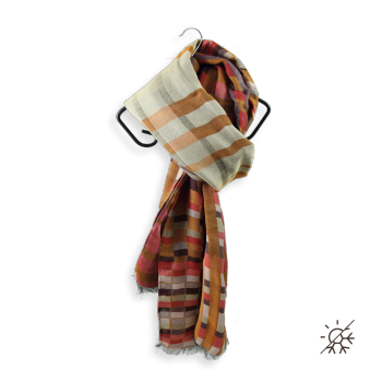 SCARF COTTON SILK ORANGE BROWN