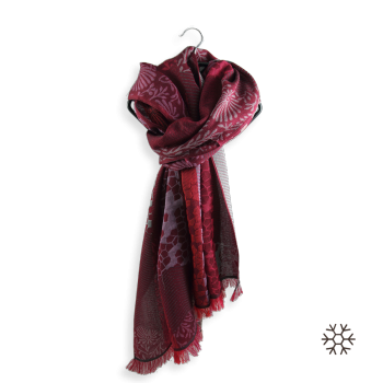 SCARF MERINO WOOL COTTON SILK CHARME RED
