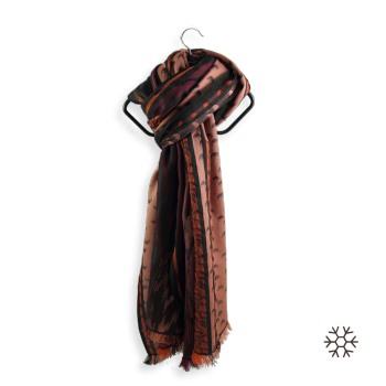 SCARF MERINO WOOL SILK ATOME DARK RED