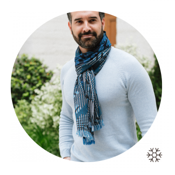 SCARF MERINO WOOL SILK RIDE BLUE