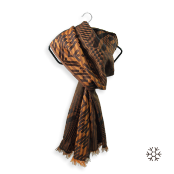SCARF MERINO WOOL SILK RIDE GOLD