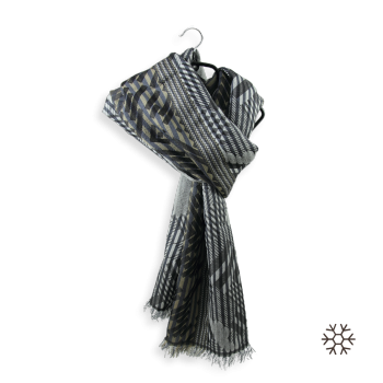 SCARF MERINO WOOL SILK RIDE GREY BLACK
