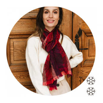 SCARF MERINO WOOL SILK VICTORIA RED