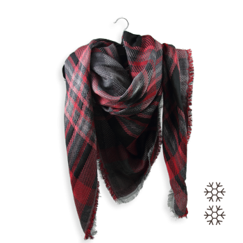 SCARF OVER SIZE MERINO WOOL COTTON SILK FRISSON RED BLACK