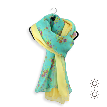 SILK DUO DESIGN BUNCH OF FLOWERS TURQUOISE YELLOW