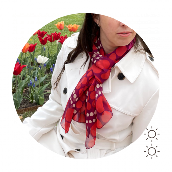 SILK PRINTED STOLE BIG DOTS RED PINK