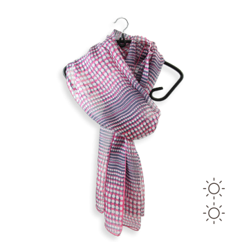 SILK PRINTED STOLE DOTS NAVY PINK