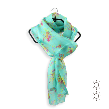 SILK PRINTED STOLE FLOWERS TURQUOISE GREEN