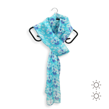 SILK PRINTED STOLE STYLE ORNEMENT BLUE