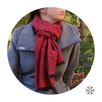 STOLE MERINO WOOL COTTON RED ISTANBUL