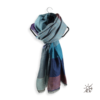 STOLE MERINO WOOL COTTON SILK KALEIDA BLUE