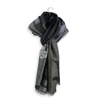 STOLE MERINO WOOL COTTON SILK LYS BLACK GRAY