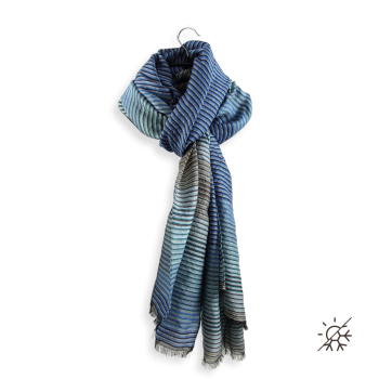STOLE MERINO WOOL COTTON SILK SKY BLUE