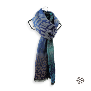 STOLE MERINO WOOL COTTON SILK VARANASI BLUE