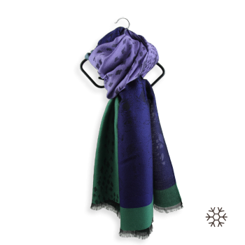 STOLE MERINO WOOL MODAL DELICE GREEN PURPLE