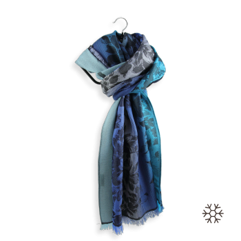 STOLE MERINO WOOL SILK ROMANTIC BLUE
