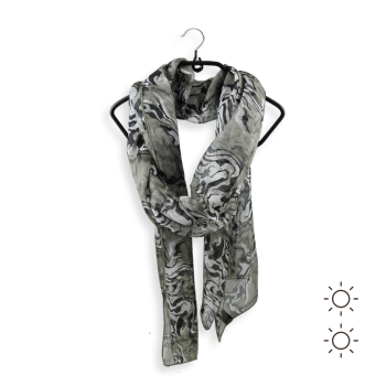 STOLE PRINTED SILK ANIMAL SKIN GRAY