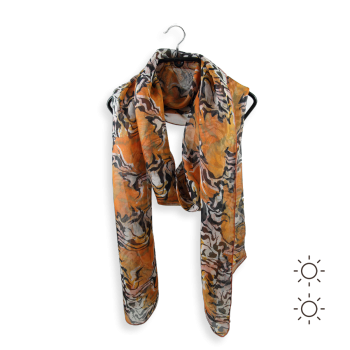 STOLE PRINTED SILK ANIMAL SKIN ORANGE