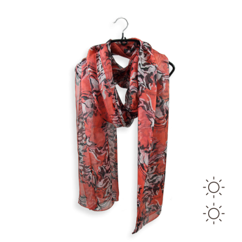 STOLE PRINTED SILK ANIMAL SKIN RED