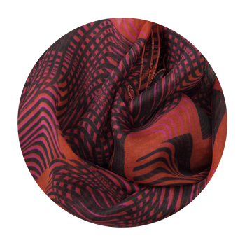 STOLE PRINTED SILK OPTICAL RED