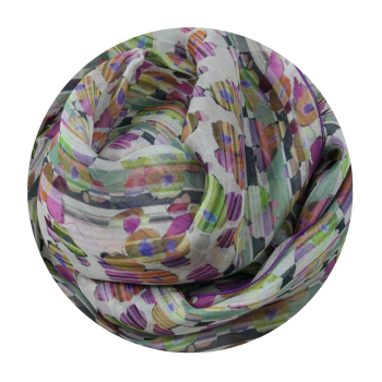 STOLE PRINTED SILK STRIPE FLOWER PINK