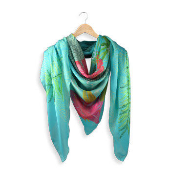 LARGE SCARF SILK MODAL PRINTED FLAMINGO FLOWERS TURQUOISE