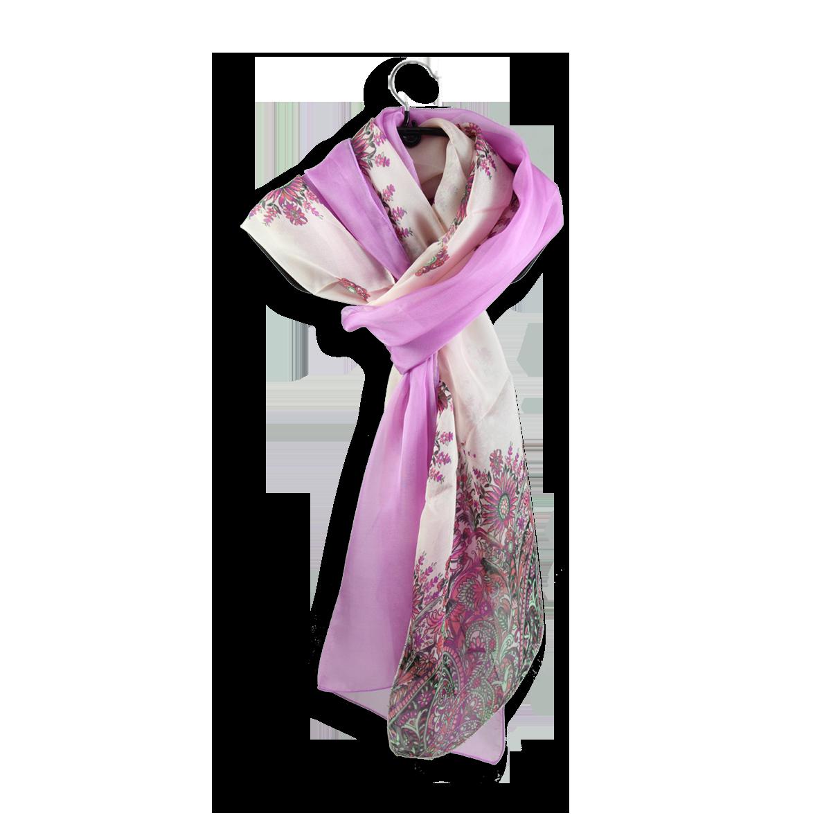 Echarpe Femme DUO en soie - Echarpe motif cachemire Rose Fuchsia 003f007b208