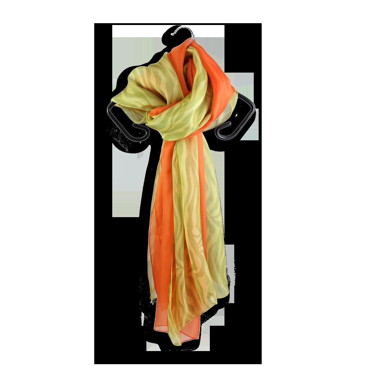 foulard soie imprime rayures jaune vert uni orange fabrique en france ... 1a80b63fe369