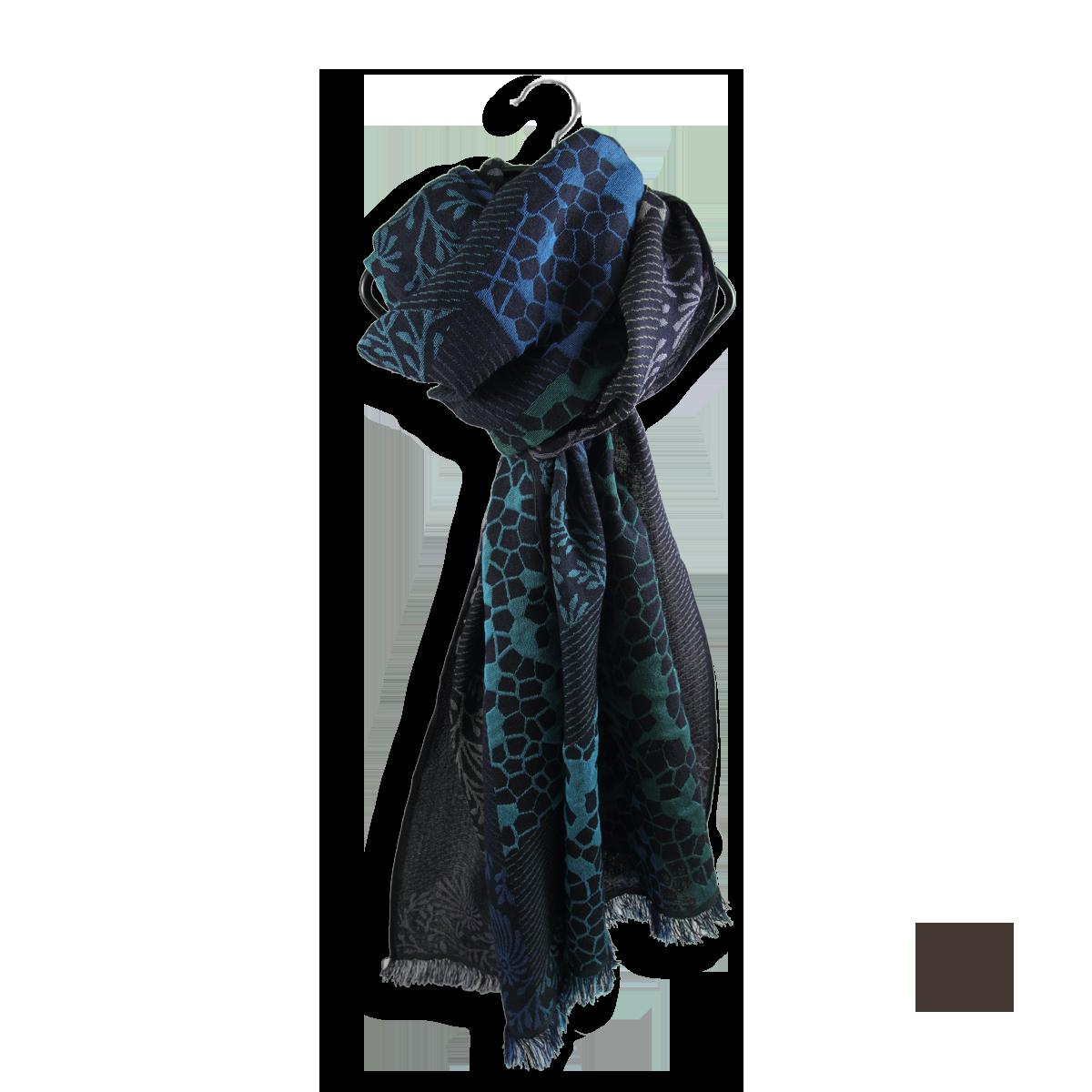 Echarpe Femme Bleu Marine et Turquoise en Laine Coton Soie - Très ... 0e801e46eb1