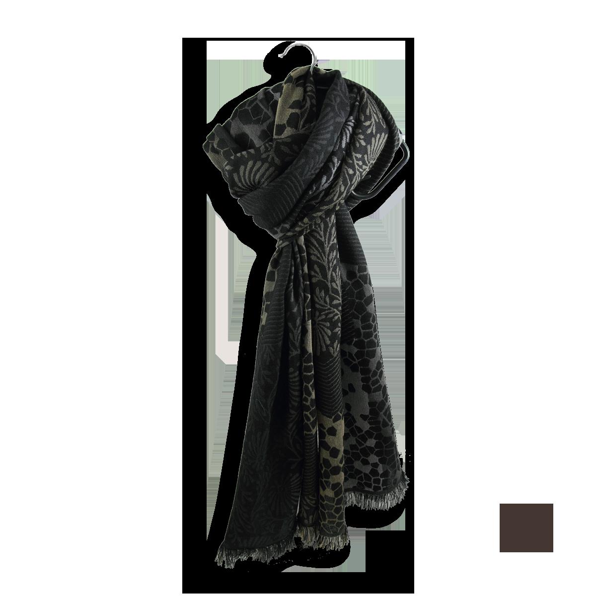 fdd6ae6dc37d Echarpe Femme Noire et grise en Laine Coton Soie - Très confortable.