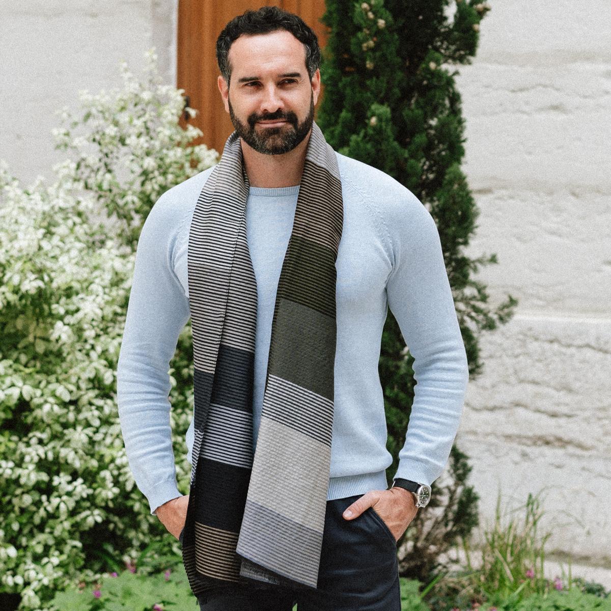 echarpe homme ou femme fines rayures gris en laine coton soie. Black Bedroom Furniture Sets. Home Design Ideas