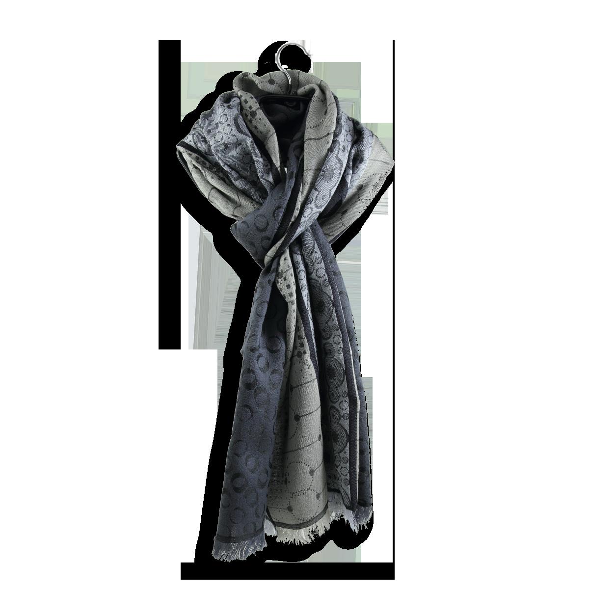 eb734665665c Echarpe Homme Gris à motifs arrondis - Echarpe en laine et soie