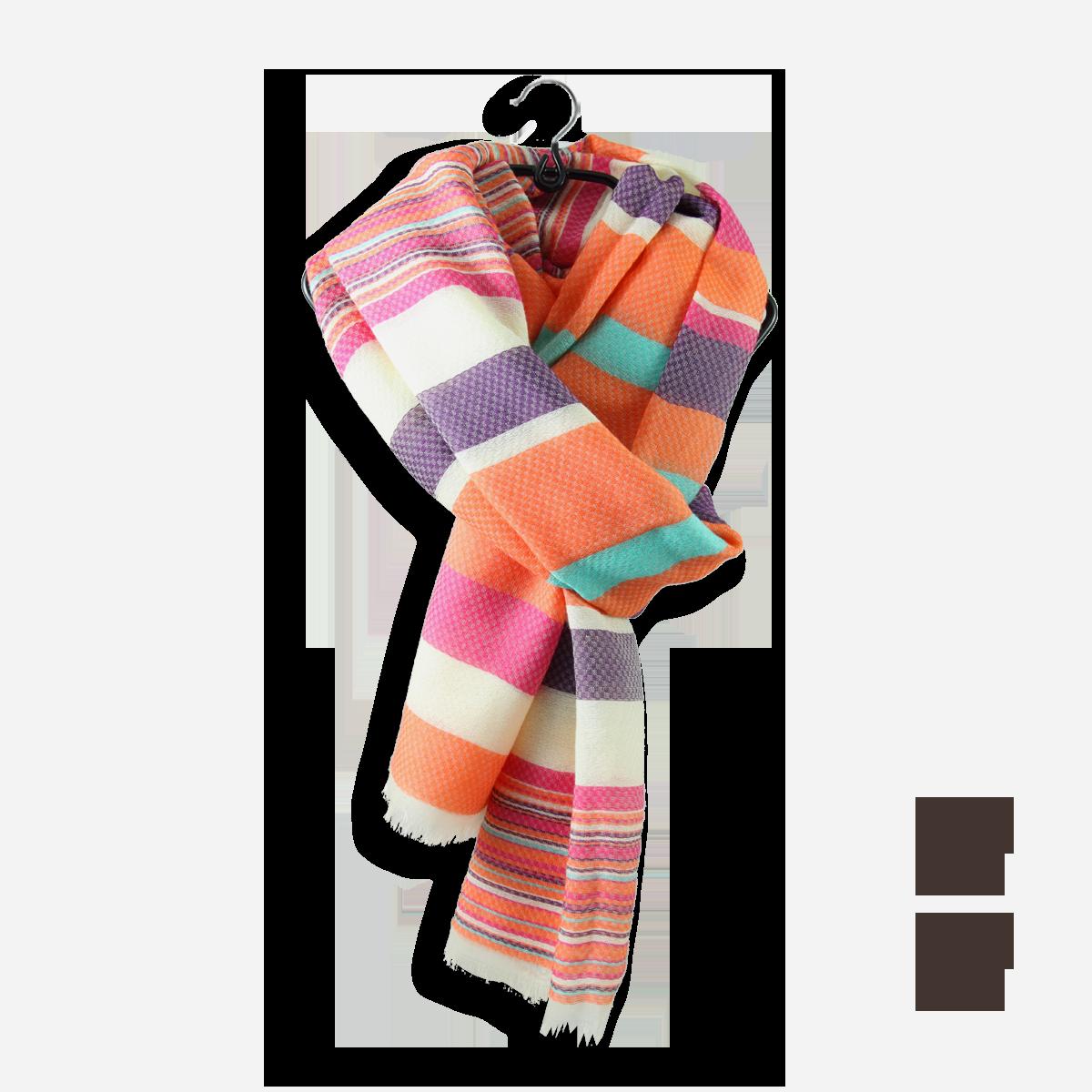 aa1562edb2e Grande étole femme rayée orange en coton et soie - Ultra confortable