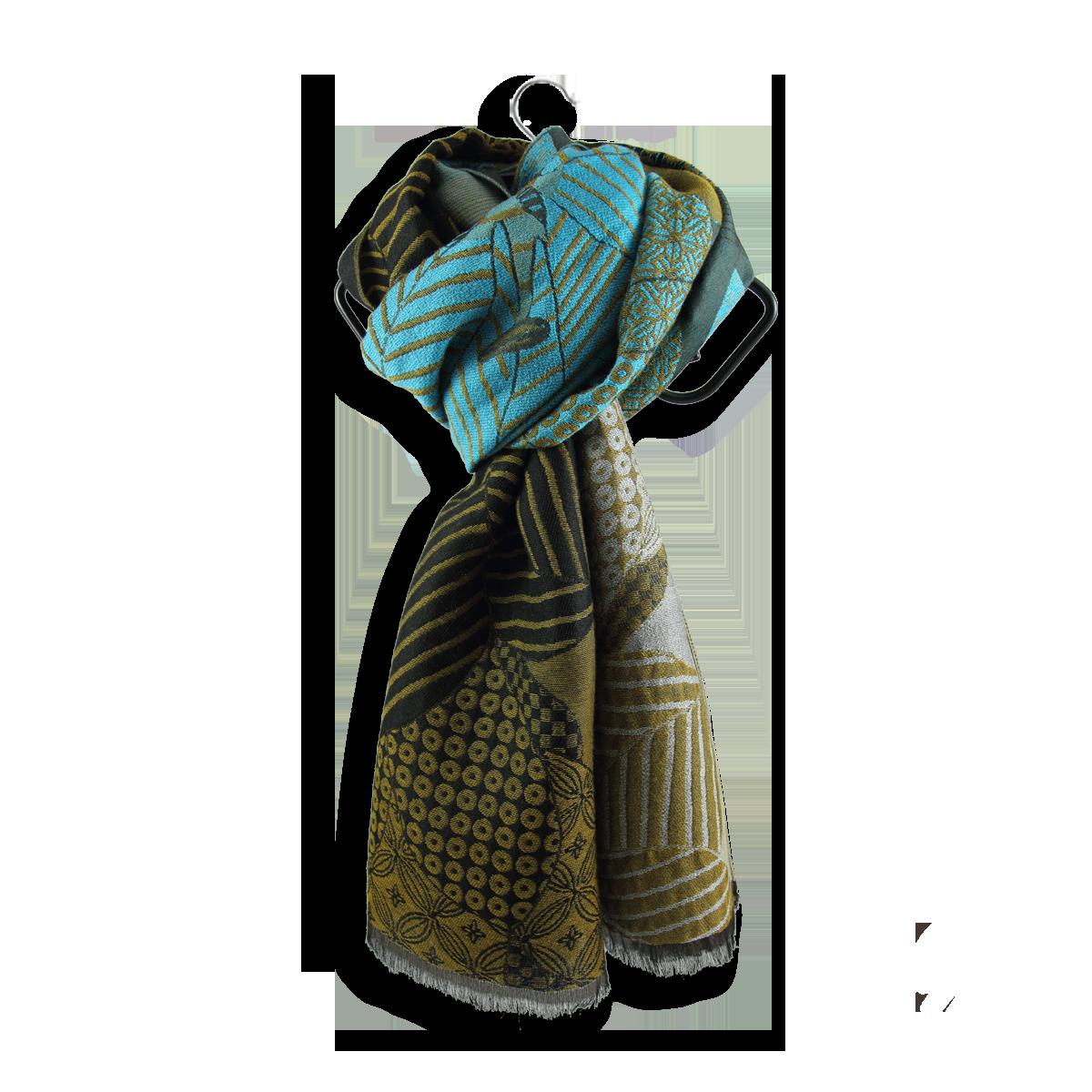 c068c5829595 Etole Femme Ocre Turquoise en Laine Coton et Soie - Très chaude